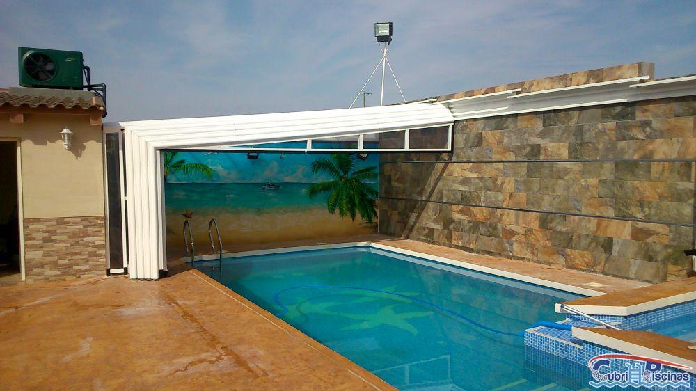 Cubripiscinas cubiertas altas telesc picas adosadas for Cubierta piscina desmontable